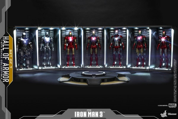 Hot Toys - Hall of Armor - Iron Man 3 - 7 er Set