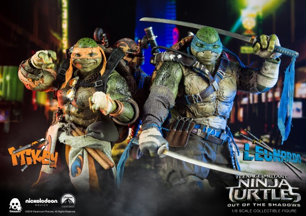 ThreeZero - Michaelangelo und Leonardo - Teenage Mutant Ninja Turtles - Out of the shadows