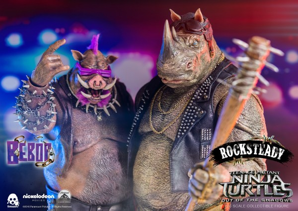 ThreeZero - Rocksteady und Bebop Doppelpack- Teenage Mutant Ninja Turtles- Out of the Shadows 1/6