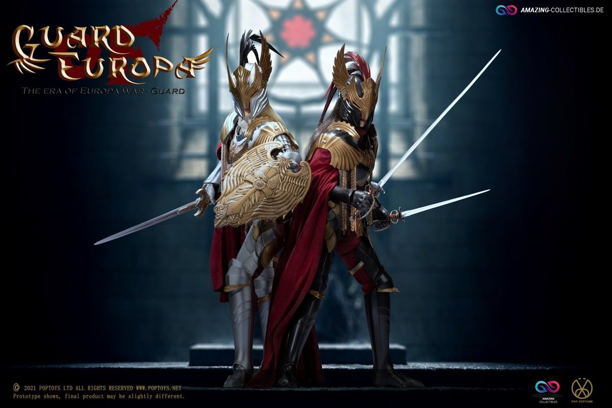 Poptoys - Eagle Knight Guard - Black armor and Silver Version Set - Guard of Europe