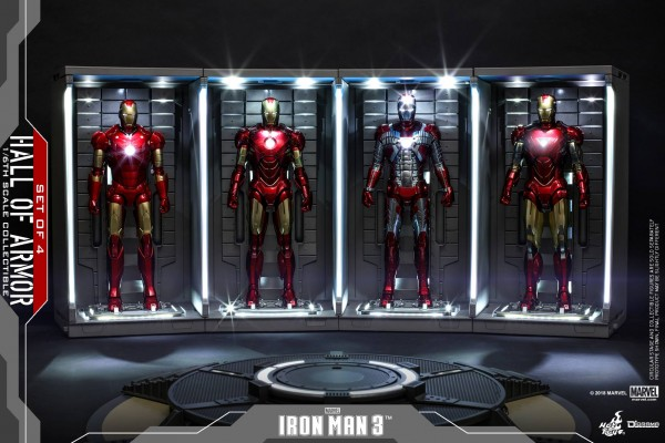 Hot Toys - Hall of Armor - Iron Man 3 - 4 er Set